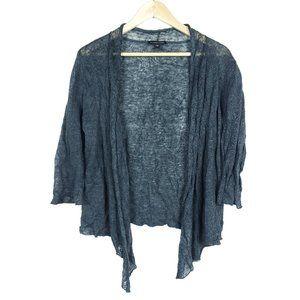Eileen Fisher Gray Metallic Silver Cardigan Shirt